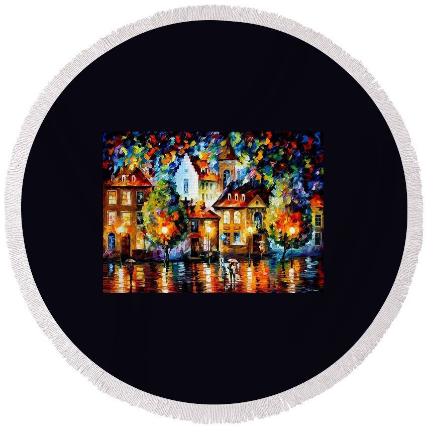 Afremov Round Beach Towel featuring the painting Luxemburg Night by Leonid Afremov