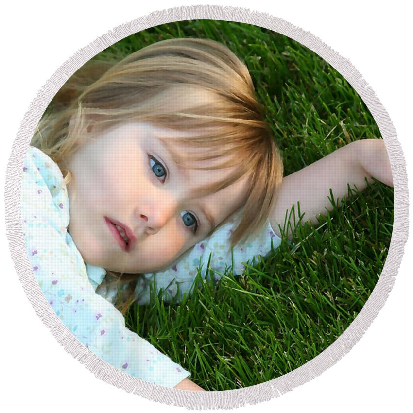 Girl Round Beach Towel featuring the photograph Lying In The Grass by Margie Wildblood