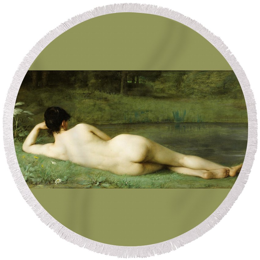 Emmanuel Benner Round Beach Towel featuring the painting Lying Nude by Emmanuel Benner