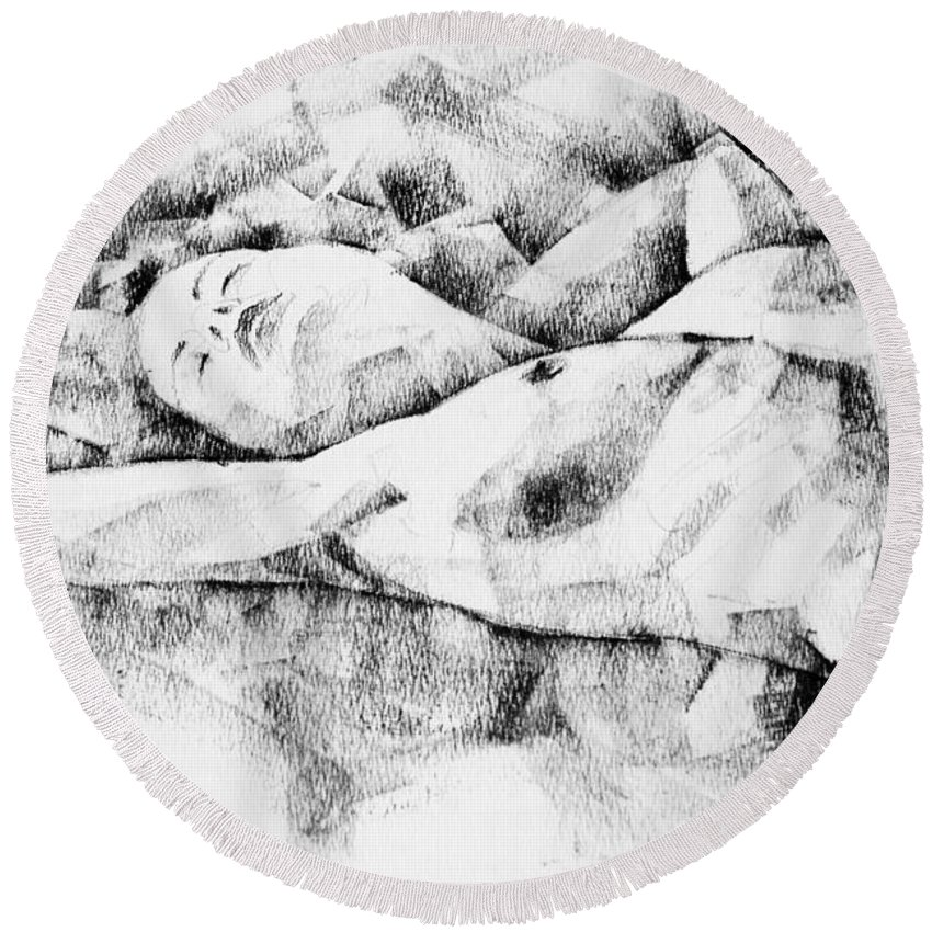 Drawing Round Beach Towel featuring the drawing Lying Woman Figure Drawing by Dimitar Hristov
