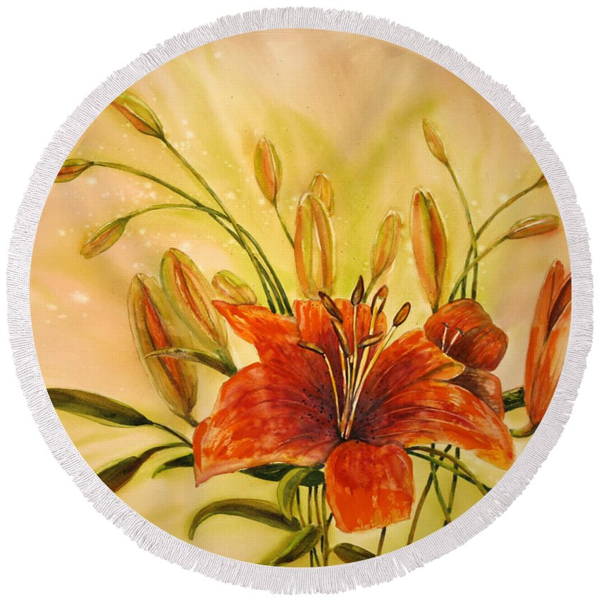Floral Round Beach Towel featuring the painting Lyla by Shirley Sykes Bracken