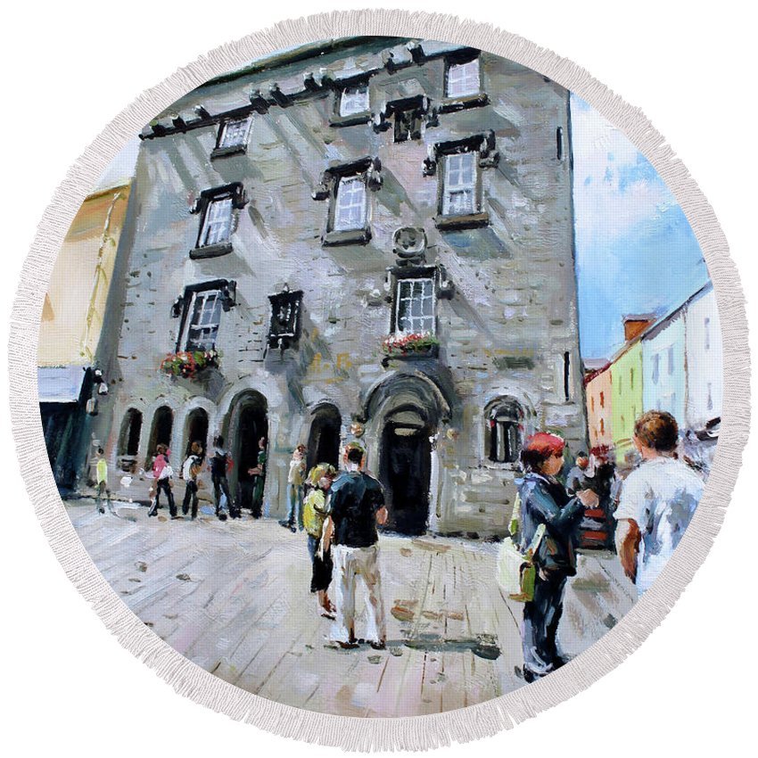 Lynches Castle Galway Round Beach Towel featuring the painting Lynches Castle Galway City by Conor McGuire