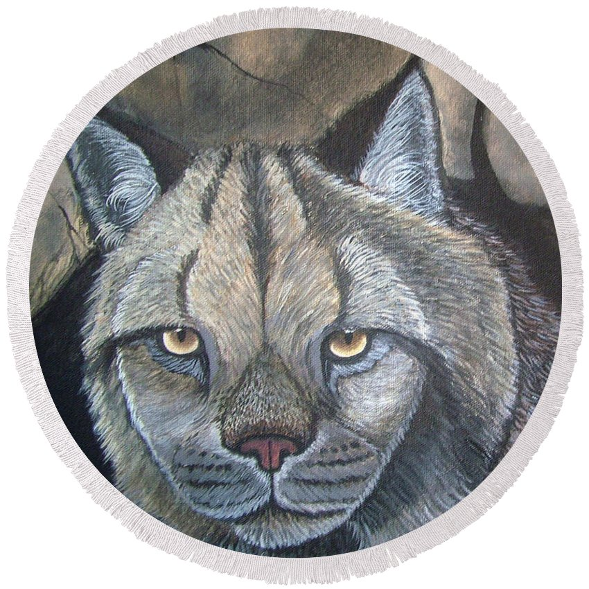 Lynx Round Beach Towel featuring the painting Lynx by Nick Gustafson