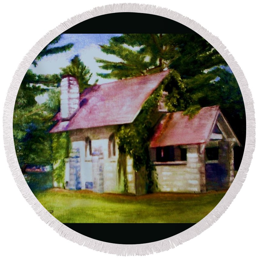 Church Round Beach Towel featuring the painting Lyons Falls Church by Sheila Mashaw