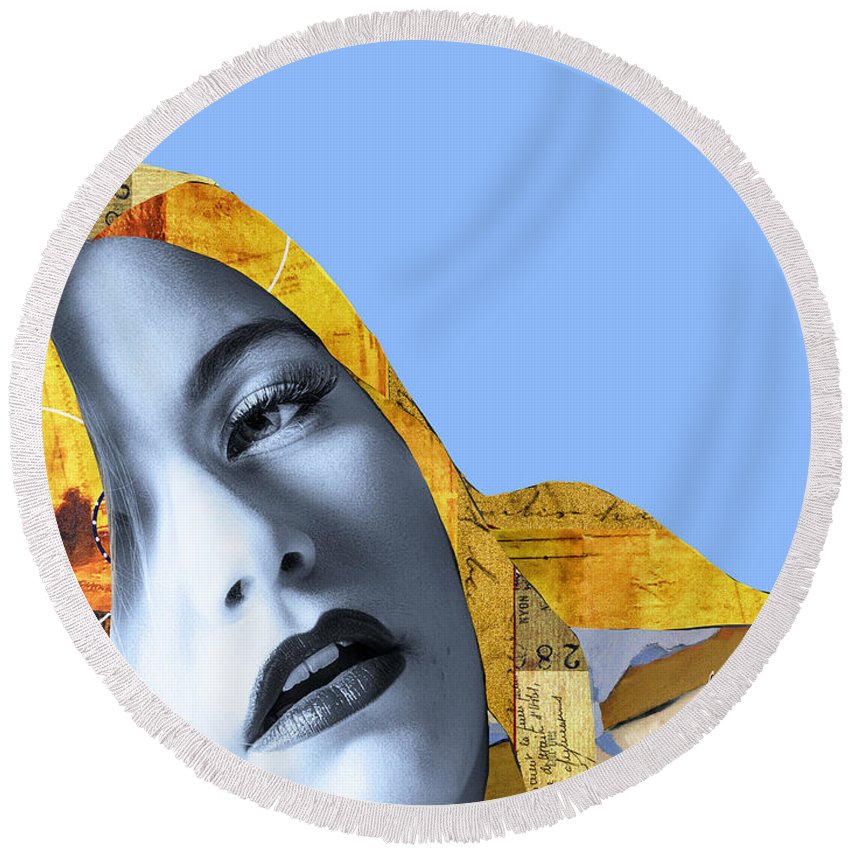 Pop Art Round Beach Towel featuring the photograph M. Butterfly by Dominic Piperata