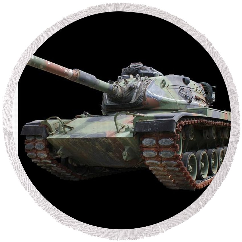 Tank Round Beach Towel featuring the photograph M48a2 Tank by Betty Northcutt