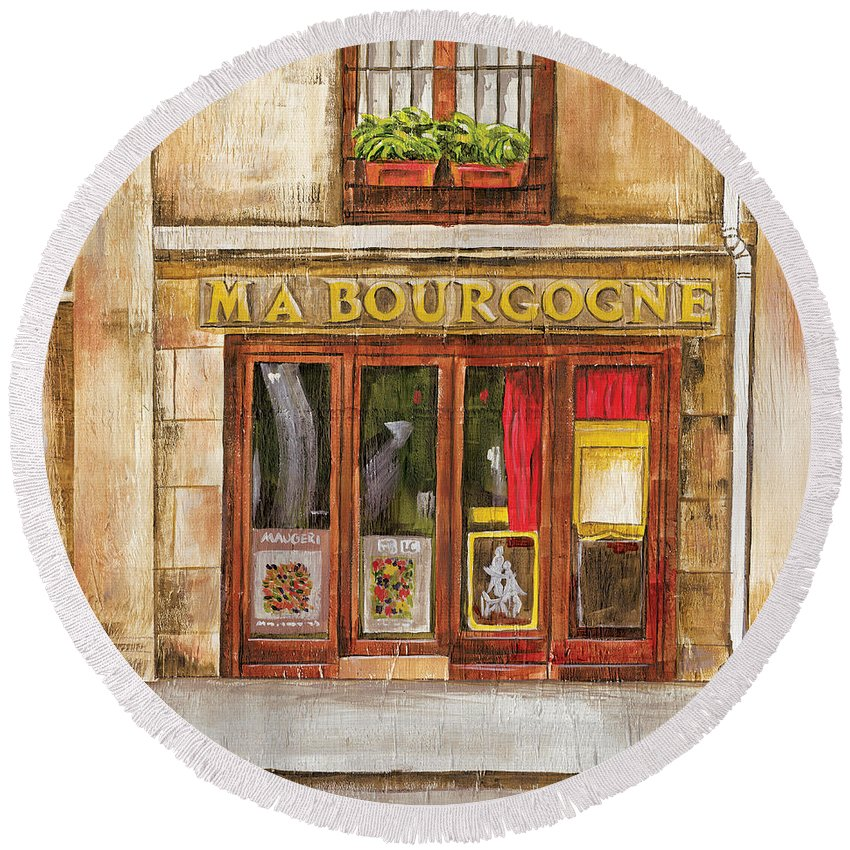 French Round Beach Towel featuring the painting Ma Bourgogne by Debbie DeWitt
