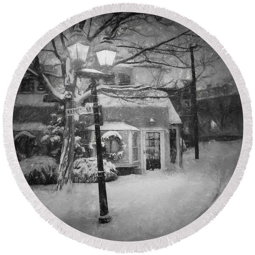 Marblehead Round Beach Towel featuring the photograph Mablehead Market Square Snowstorm Old Town Evening Black And White Painterly by Toby McGuire