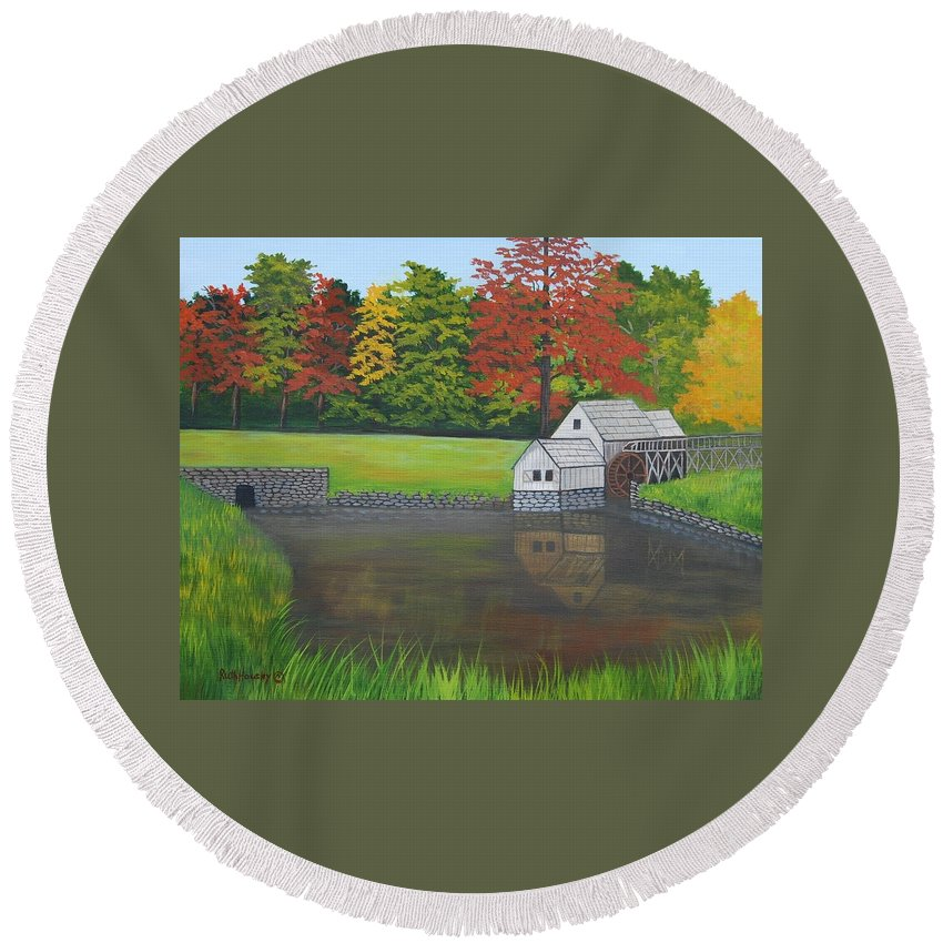 Landscape Round Beach Towel featuring the painting Mabry Grist Mill by Ruth Housley