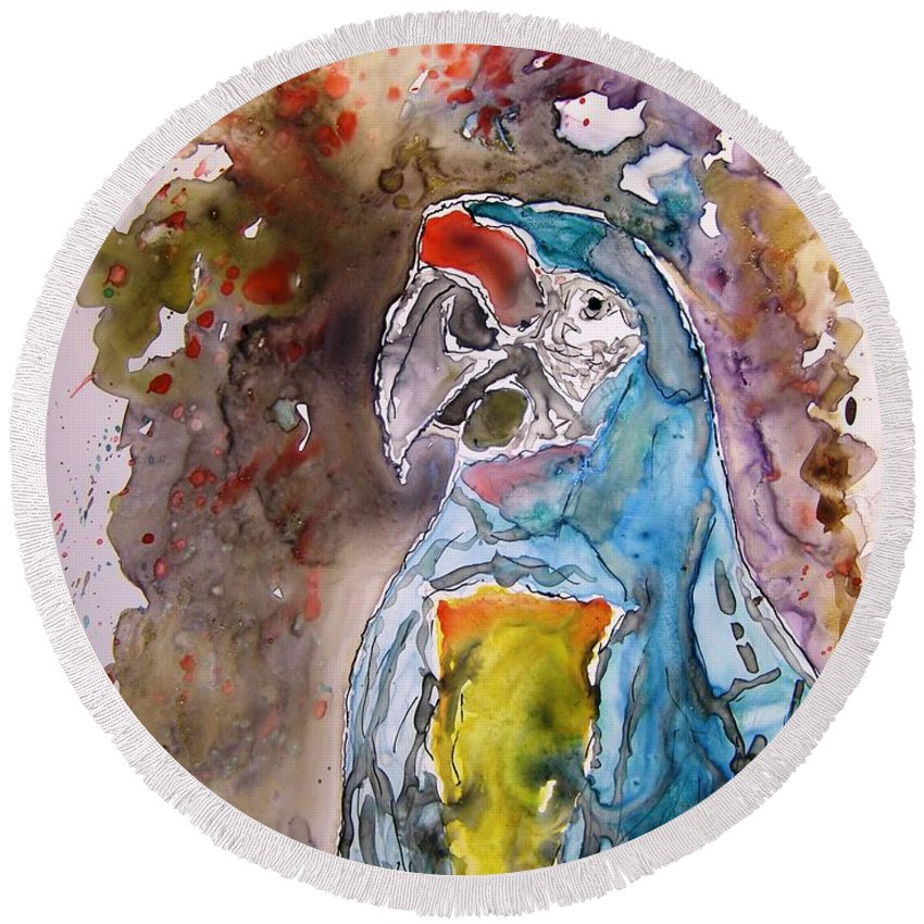 Parrot Round Beach Towel featuring the painting Macaw Parrot by Derek Mccrea