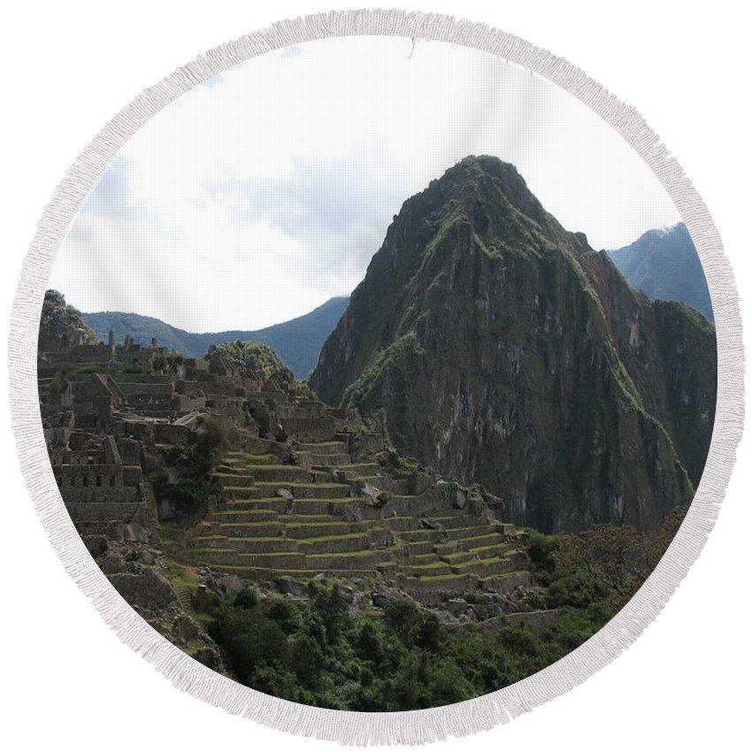 Landscape Round Beach Towel featuring the photograph Macchu Picchu 8 by Sandra Bourret