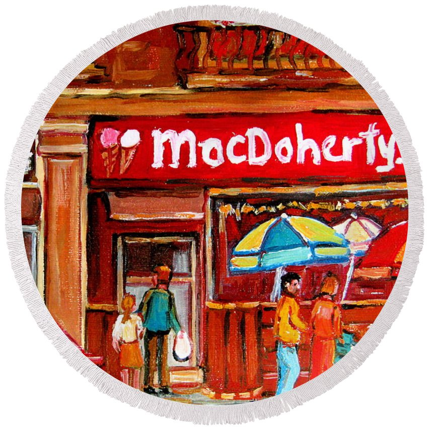 Macdohertys Round Beach Towel featuring the painting Macdohertys Icecream Parlor by Carole Spandau