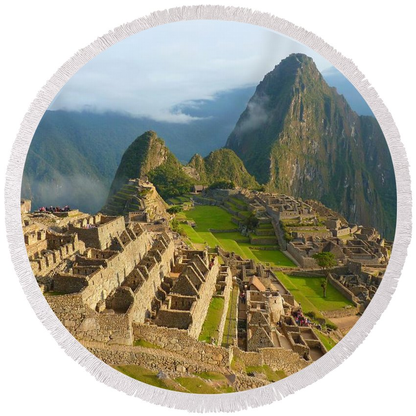 Machu Round Beach Towel featuring the photograph Machu-picchu by FL collection