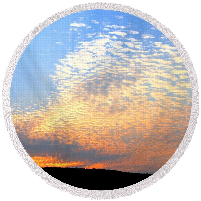 Mackerel Sky Round Beach Towel featuring the photograph Mackerel Sky by Will Borden