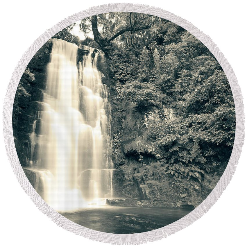 Catlins Round Beach Towel featuring the photograph Maclean Falls New Zealand by U Schade
