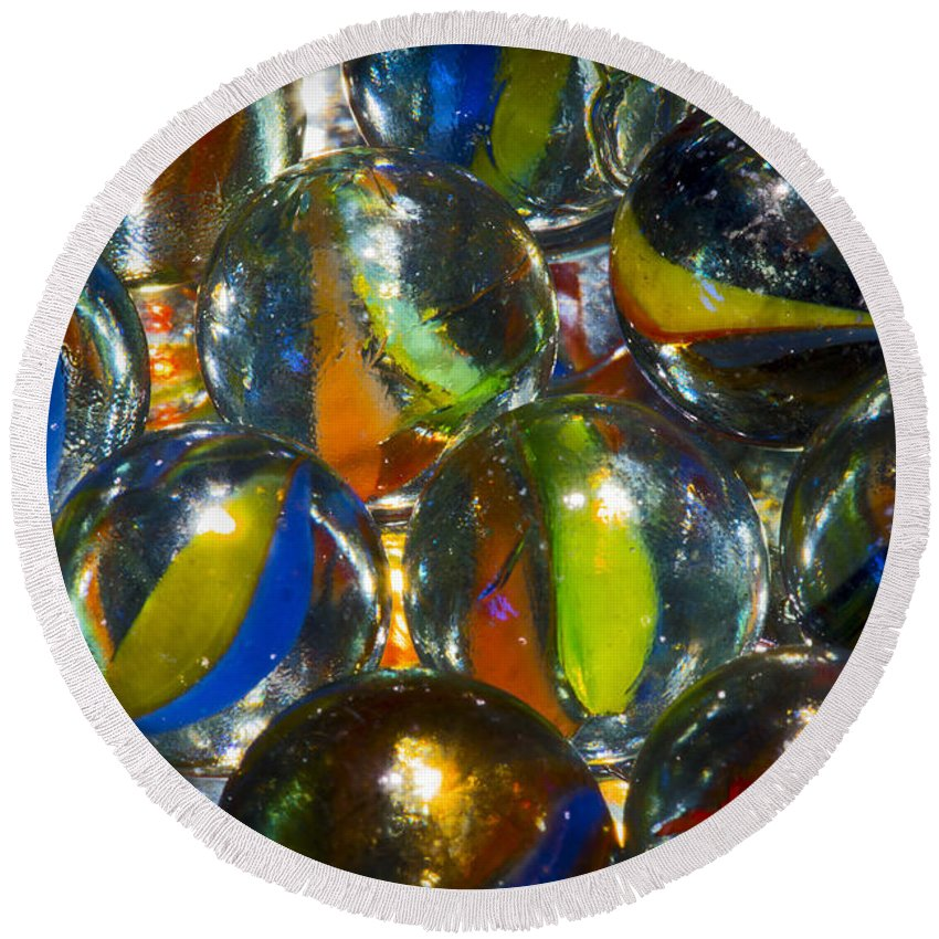 Macro Round Beach Towel featuring the photograph Macro Marbles by Robert Storost