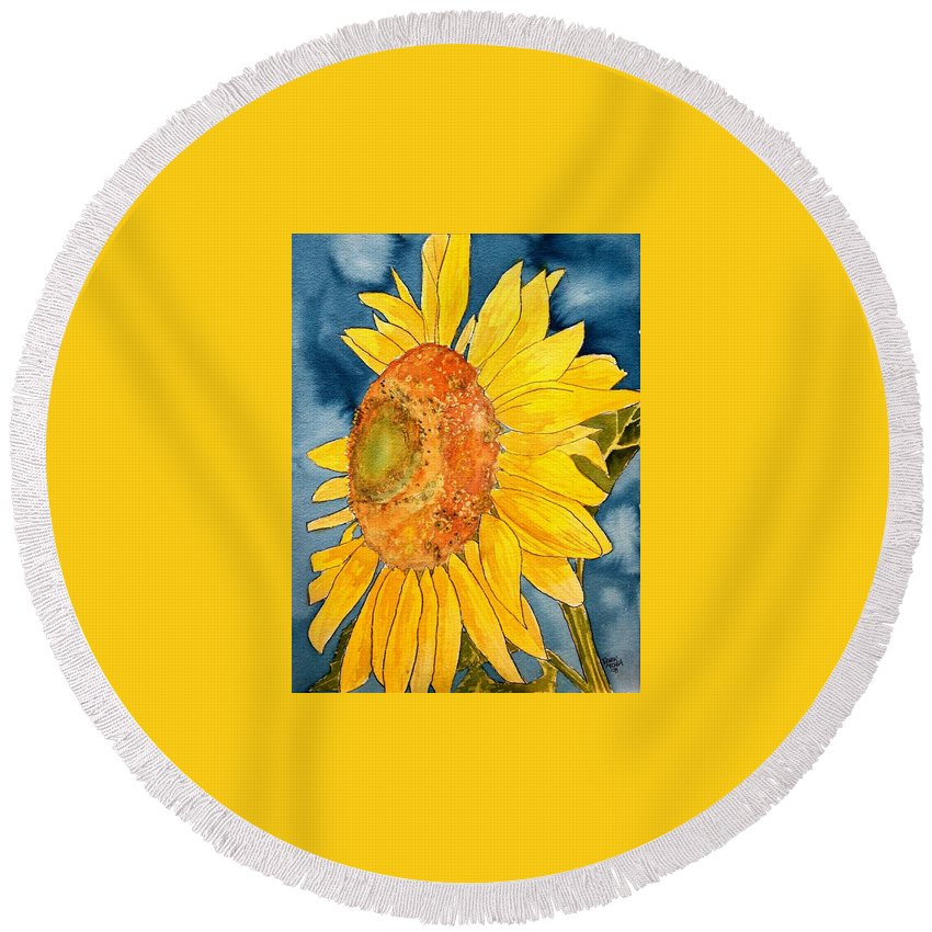 Sunflower Round Beach Towel featuring the painting Macro Sunflower Art by Derek Mccrea
