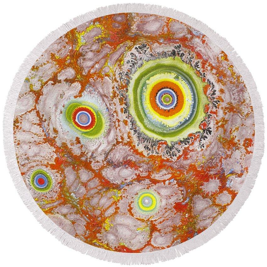 Spiritual Art Round Beach Towel featuring the painting Macrocosm And Microcosm by Art Baciar