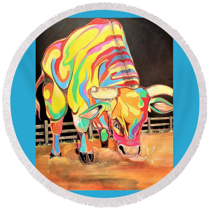 Bull Round Beach Towel featuring the painting Mad Bull by Bill Whidden
