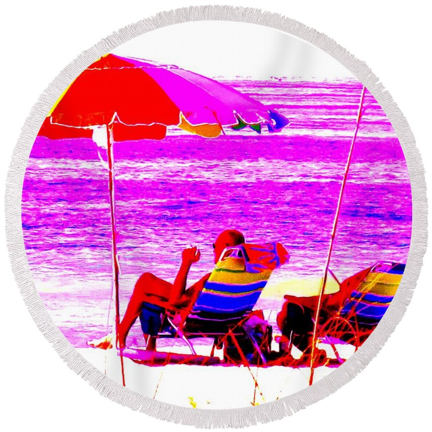 Beach Round Beach Towel featuring the photograph Mad Dogs Mid Day Sun by Ian MacDonald