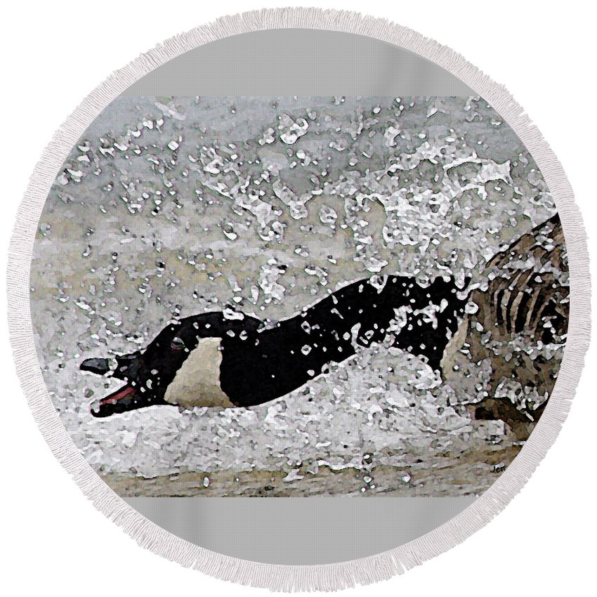 Canada Goose Round Beach Towel featuring the digital art Mad Goose by Jenny Gandert