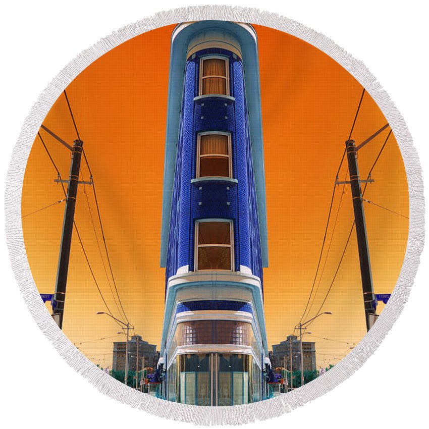 Abstract Round Beach Towel featuring the photograph Mad World by Wayne Sherriff
