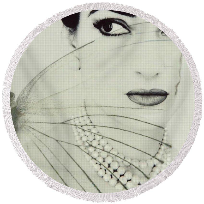 Maria Callas Round Beach Towel featuring the digital art Madam Butterfly - Maria Callas by Paul Lovering