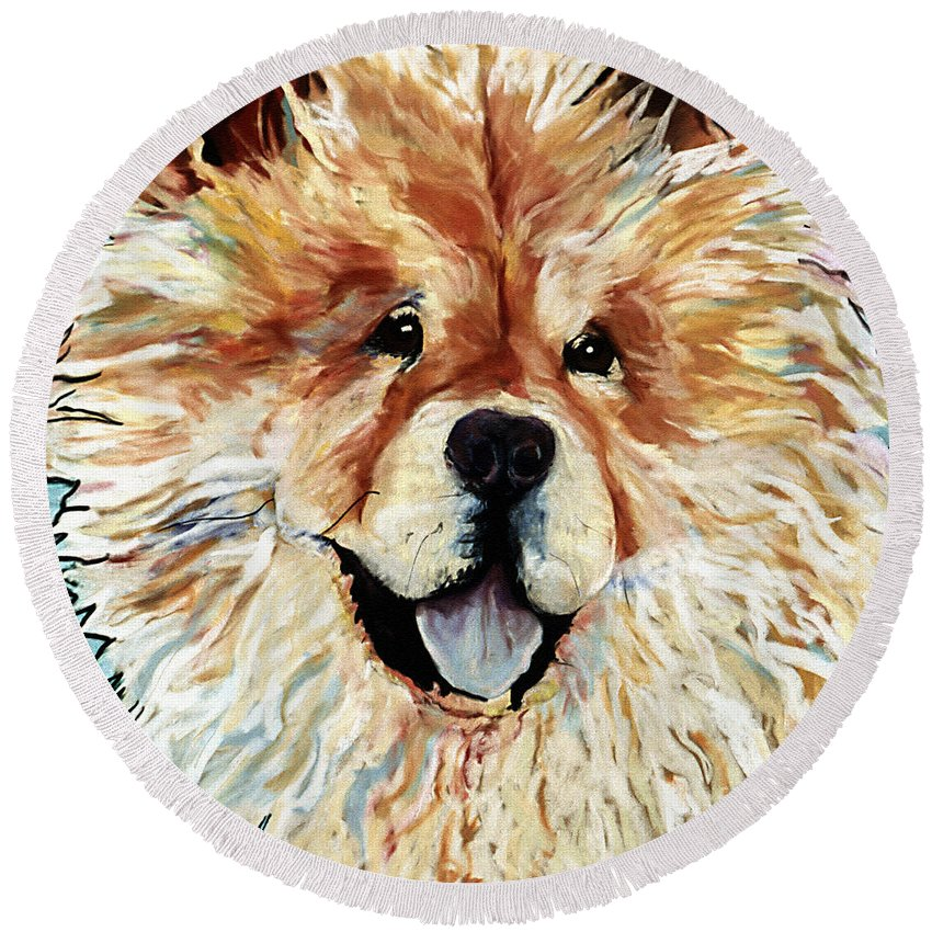 Chow Chow Round Beach Towel featuring the pastel Madame Chu Cho by Pat Saunders-White
