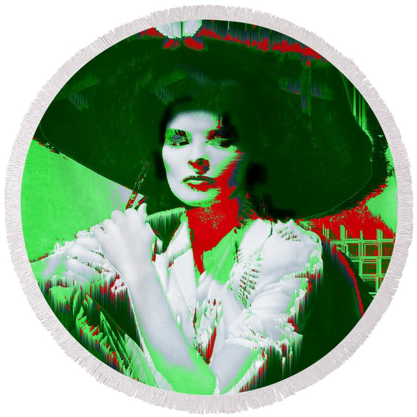 Katherine Hepburn Round Beach Towel featuring the digital art Madame Kate And The Big Hat by Seth Weaver