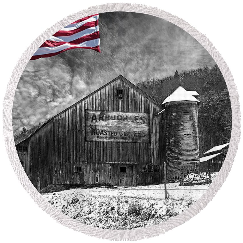 Black And White Round Beach Towel featuring the photograph Made In America Red White And Blue by John Stephens