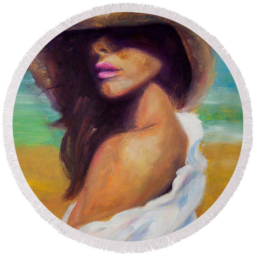 Girl Round Beach Towel featuring the painting Made In The Shade by Jason Reinhardt