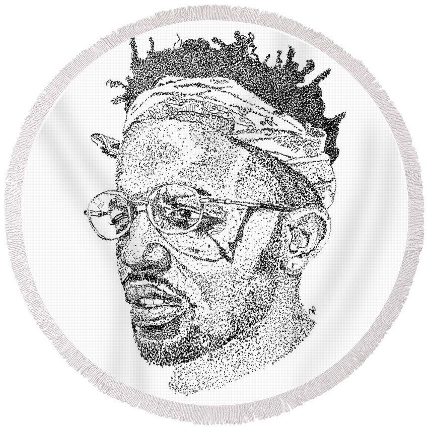 Black Art Round Beach Towel featuring the drawing Madeintyo by Marcus Price
