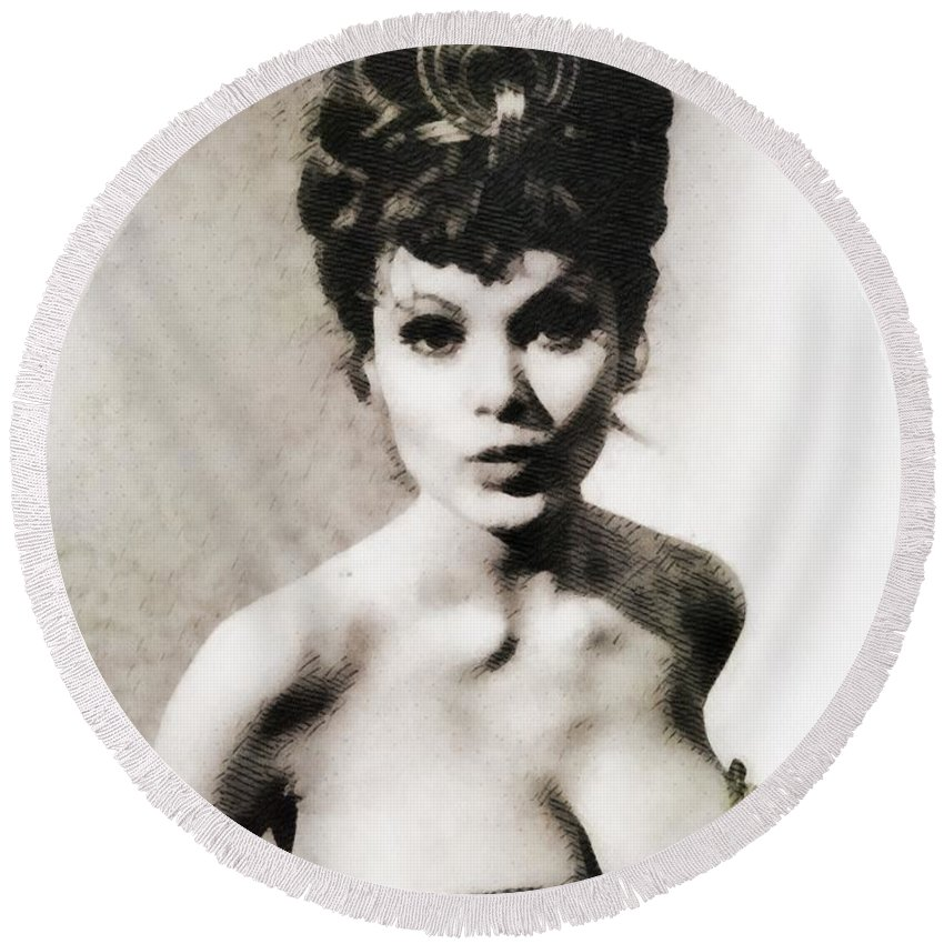 Hollywood Round Beach Towel featuring the painting Madeline Smith, Vintage Actress by John Springfield
