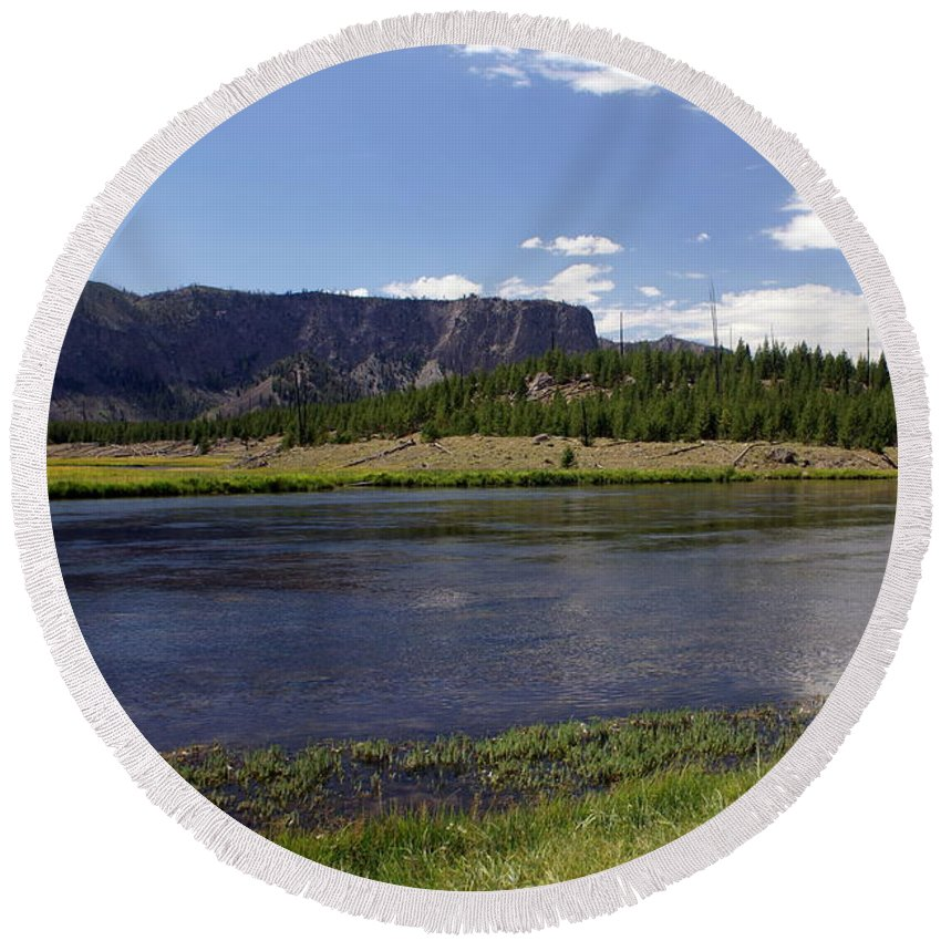 Madison River Round Beach Towel featuring the photograph Madison River Valley by Marty Koch