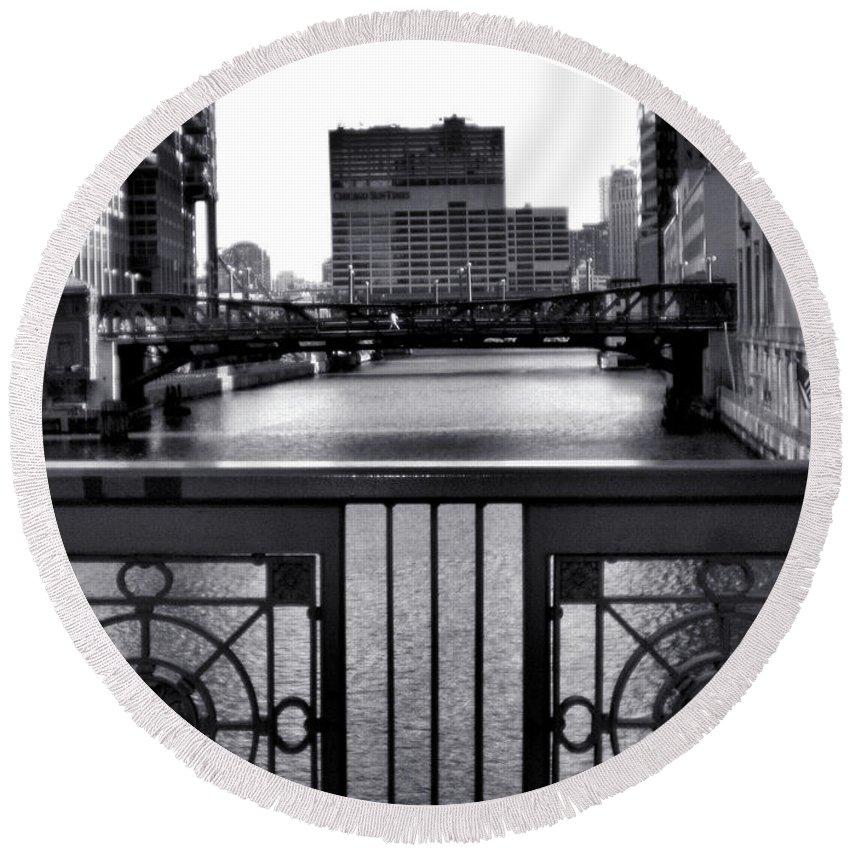 Madison Street Bridge Round Beach Towel featuring the photograph Madison Street Bridge - 3 by Ely Arsha
