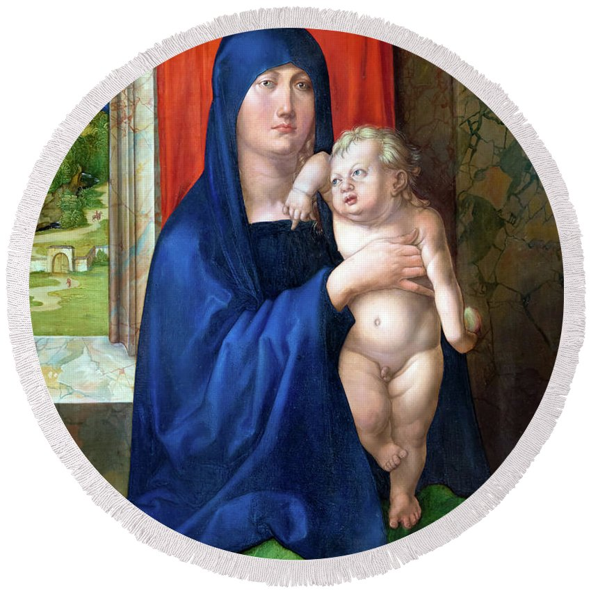 Usa Round Beach Towel featuring the photograph Madonna And Child by Albrecht Durer