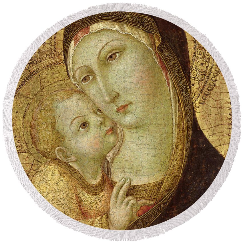 Madonna Round Beach Towel featuring the painting Madonna And Child by Ansano di Pietro di Mencio