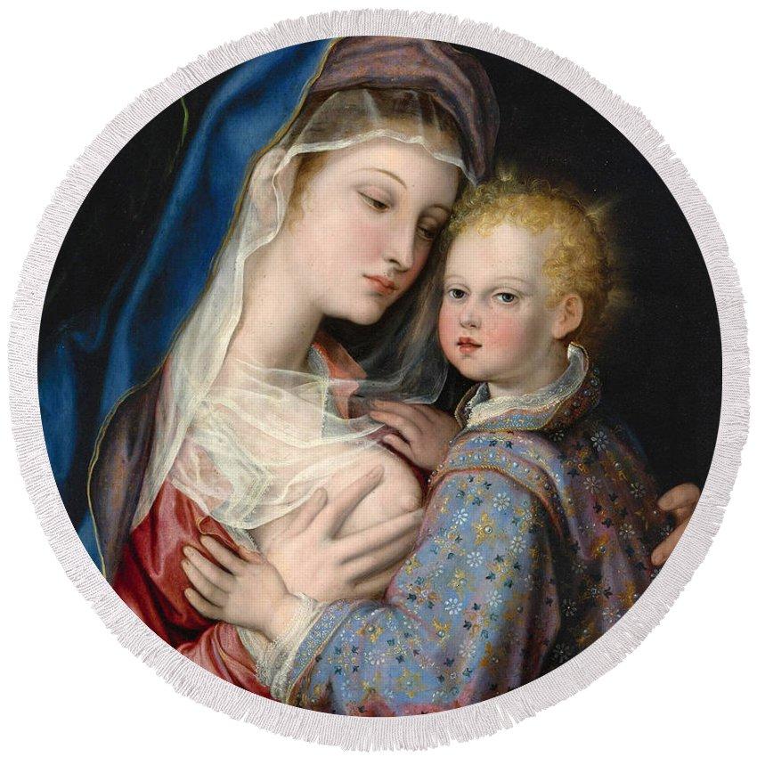Giovanni Bernardo Lama Round Beach Towel featuring the painting Madonna And Child by Giovanni Bernardo Lama