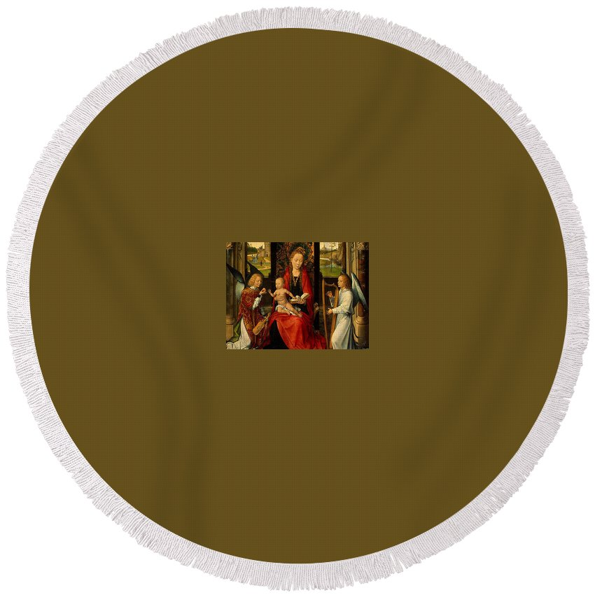 Metropolitan Round Beach Towel featuring the digital art Madonna And Child With Angelsdetalj 5 Ngw Hans Memling by Eloisa Mannion
