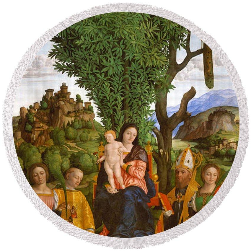 Girolamo Dai Libri Round Beach Towel featuring the painting Madonna And Child With Saints by Girolamo dai Libri