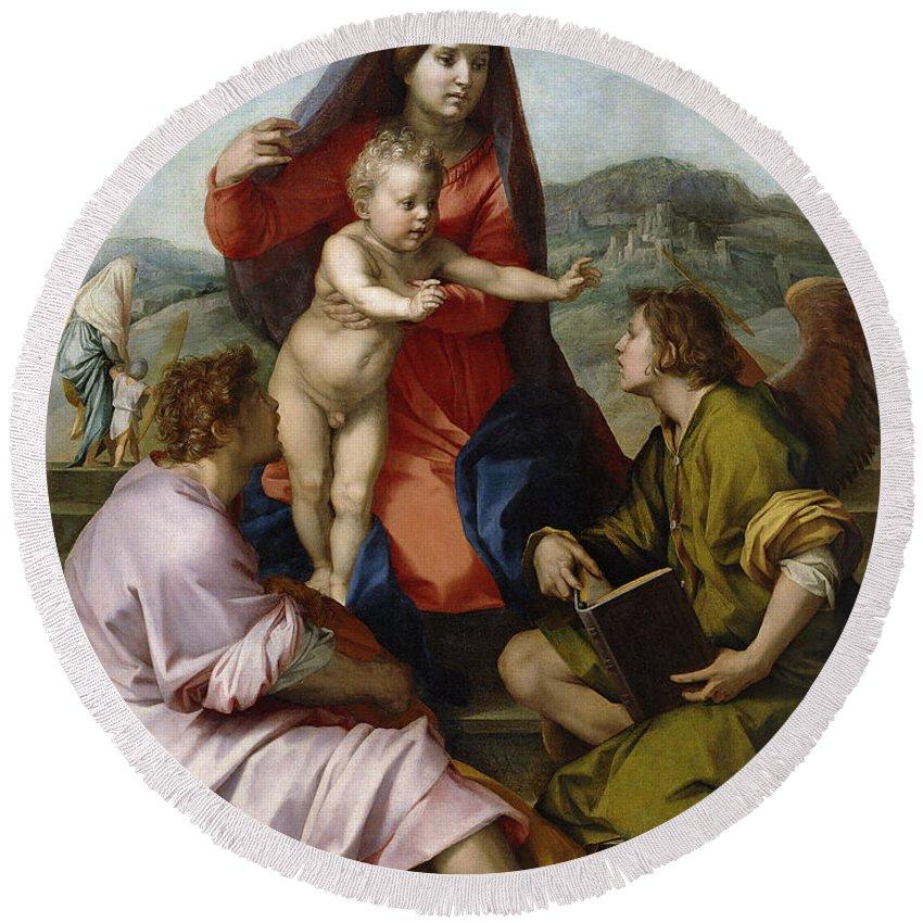 Andrea Del Sarto Round Beach Towel featuring the painting Madonna Della Scala. Virgin Of The Stairs by Andrea del Sarto
