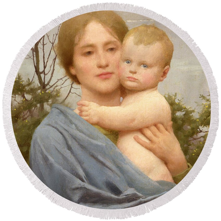 Madonna Round Beach Towel featuring the painting Madonna Of The Mount by Thomas Cooper Gotch