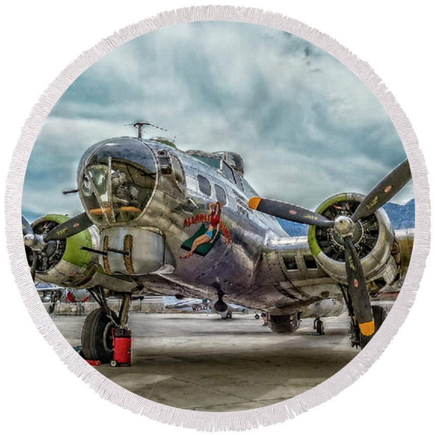 B17 Bomber Round Beach Towel featuring the photograph Madras Maiden B-17 Bomber by Sandra Selle Rodriguez