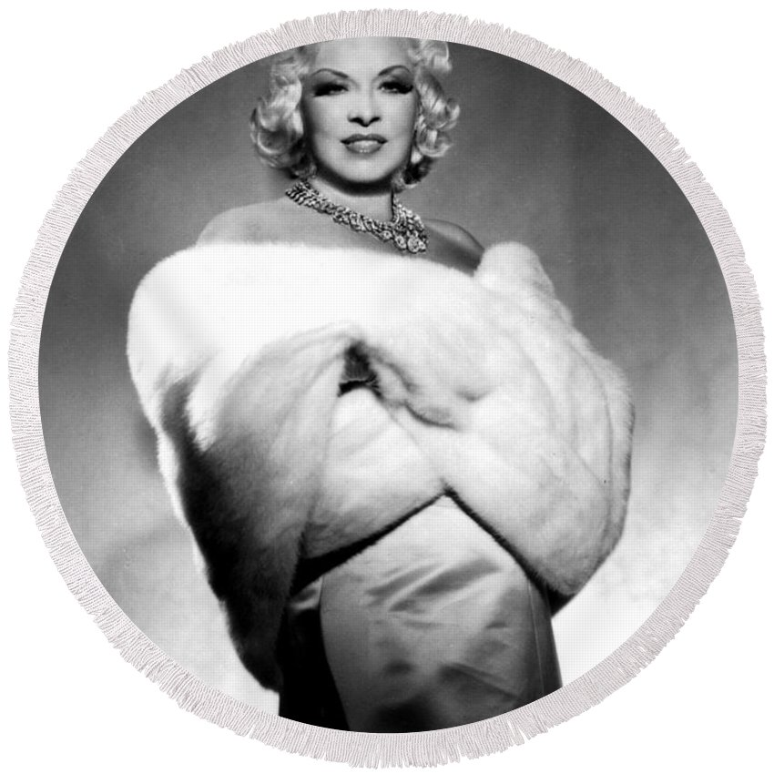 Mae West Round Beach Towel featuring the photograph Mae West by American School