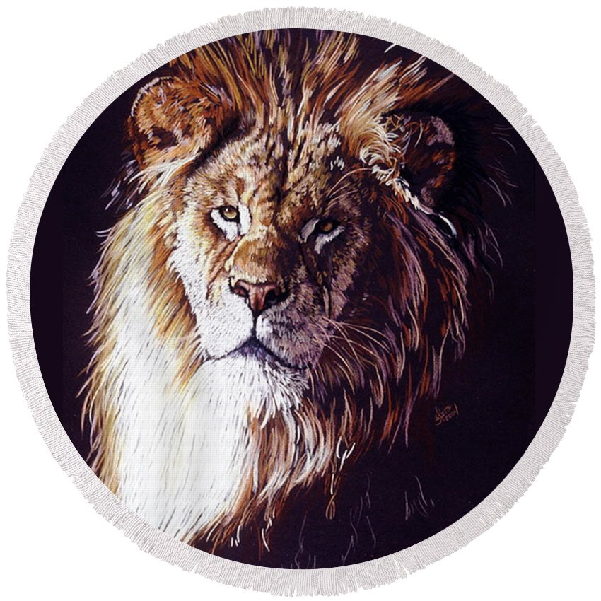 Lion Round Beach Towel featuring the drawing Maestro by Barbara Keith