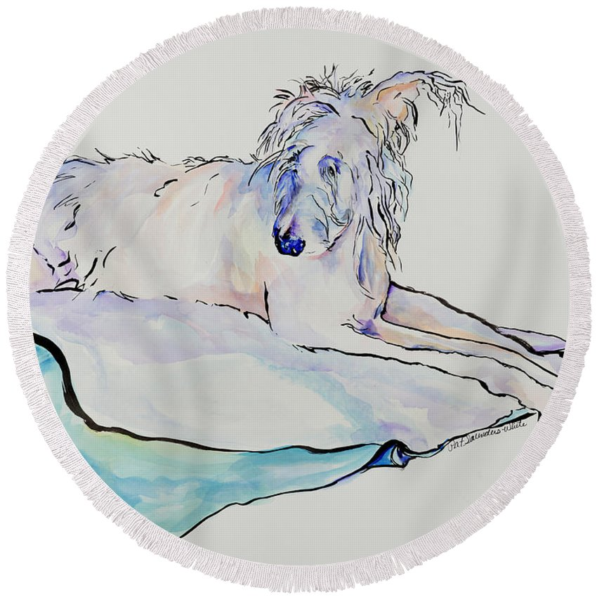 Animal Portrait Round Beach Towel featuring the painting Maevis by Pat Saunders-White