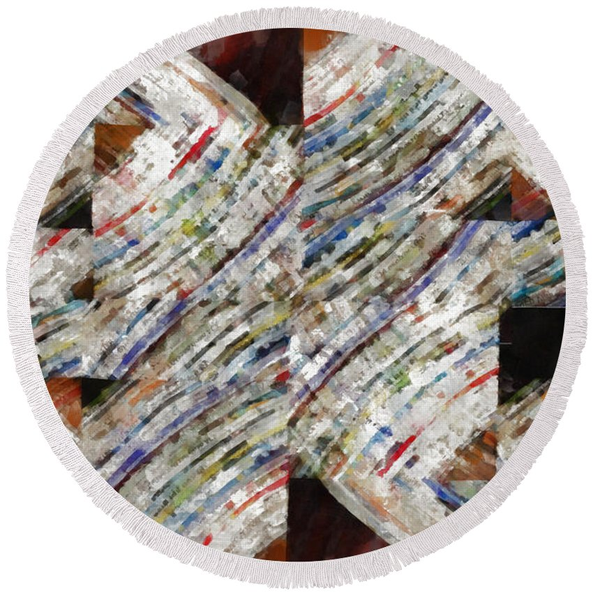 Abstract Round Beach Towel featuring the photograph Mag 6 Abstract Painting by Edward Fielding