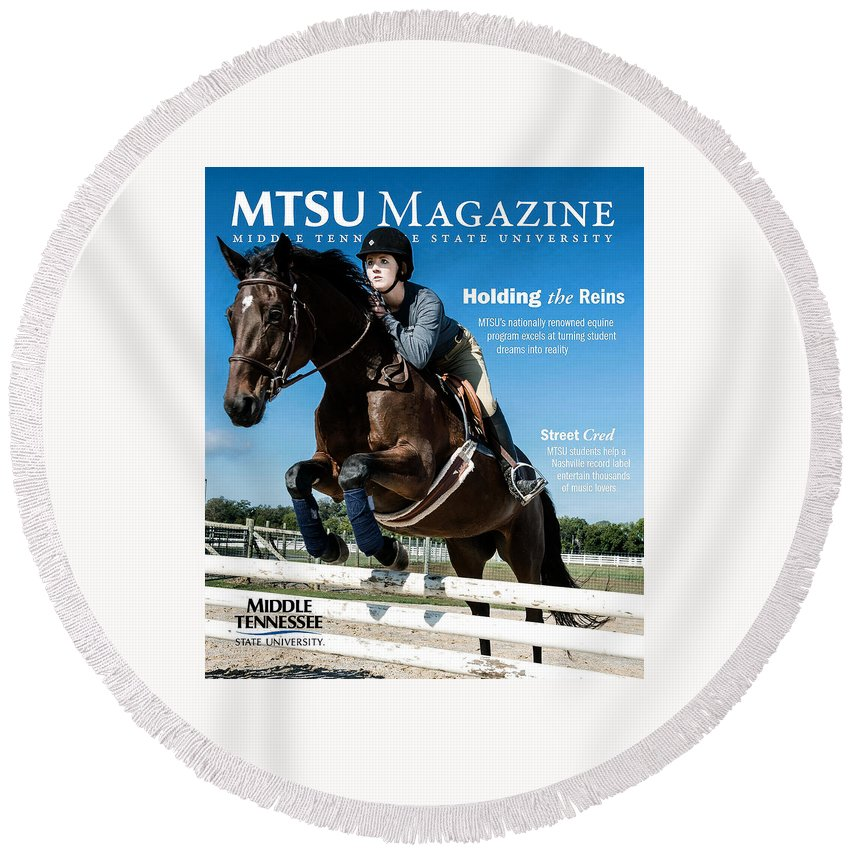 Horse Round Beach Towel featuring the digital art Magazine by Lizo Oneng