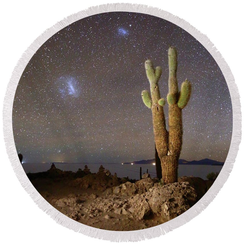 Cactus Plant Round Beach Towel featuring the photograph Magellanic Clouds And Forked Cactus Incahuasi Island Bolivia by James Brunker