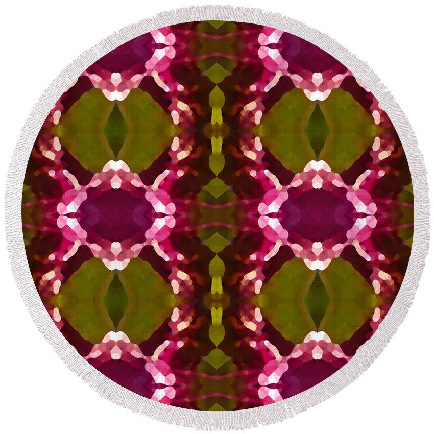 Abstract Round Beach Towel featuring the painting Magenta Crystal Pattern by Amy Vangsgard